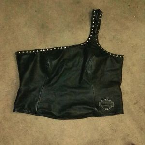 womens leather one shoulder top